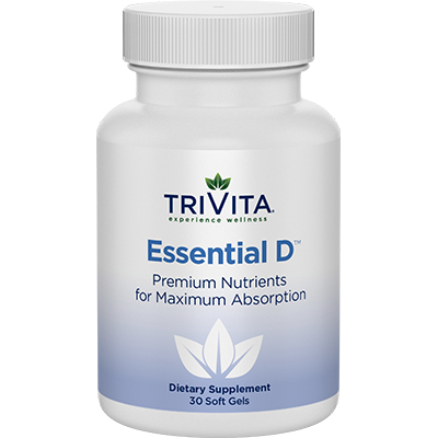 The very colorful bottle of Trivita Essentail D vitamins.